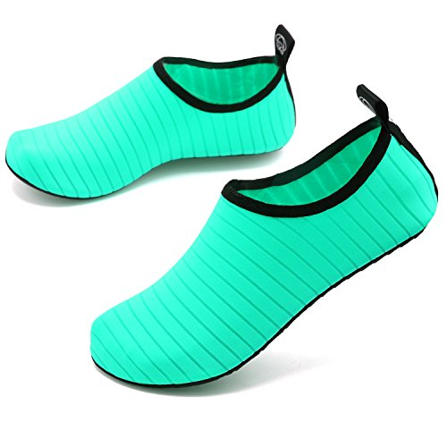 VIFUUR Wassersport Schuhe Barfuß Quick-Dry Aqua Yoga Socken Slip-On für Männer Frauen Kinder Grün