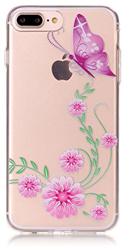 Price comparison product image iPhone 7 Plus Case Clear 5.5 inch TPU Silicone Transparent Ultra Thin Design Soft Back Cover with Embossed Pattern Pink Flowers Butterfly with Free Touch-U Phone Stand ( NOT Fit iPhone 7 4.7 inch )