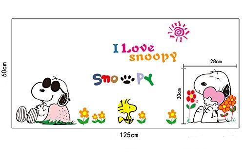 3b32b5da44b1 Fangeplus(TM) DIY Removable Lovely Snoopy PVC Art Mural Vinyl Waterproof  Wall Stickers Kids Room Decor Nursery Decal Sticker Wallpaper 27.5  x19.6    ...