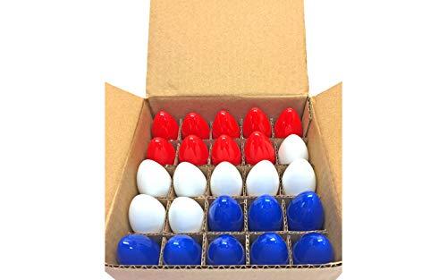 C-9 4th of July Lights Bulbs Red, White, & Blue C9 Bulbs Steady - 1 Box of 25 C9 Bulbs E17 Base Brass Socket Replacement Light Bulbs Opaque Ceramic Light Bulbs C-9 Screw In Bulbs (Lighting Est Outdoor)