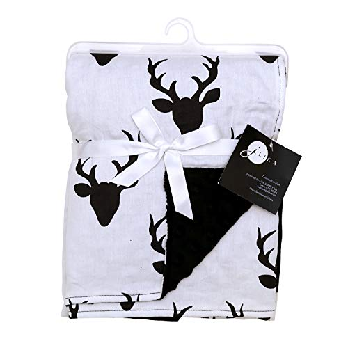 Baby Blankets for Boys Girls - Swaddle Newborn Receiving Minky Blanket Boy Girl by JLIKA (Black White Deer - Blanket Receiving Minky