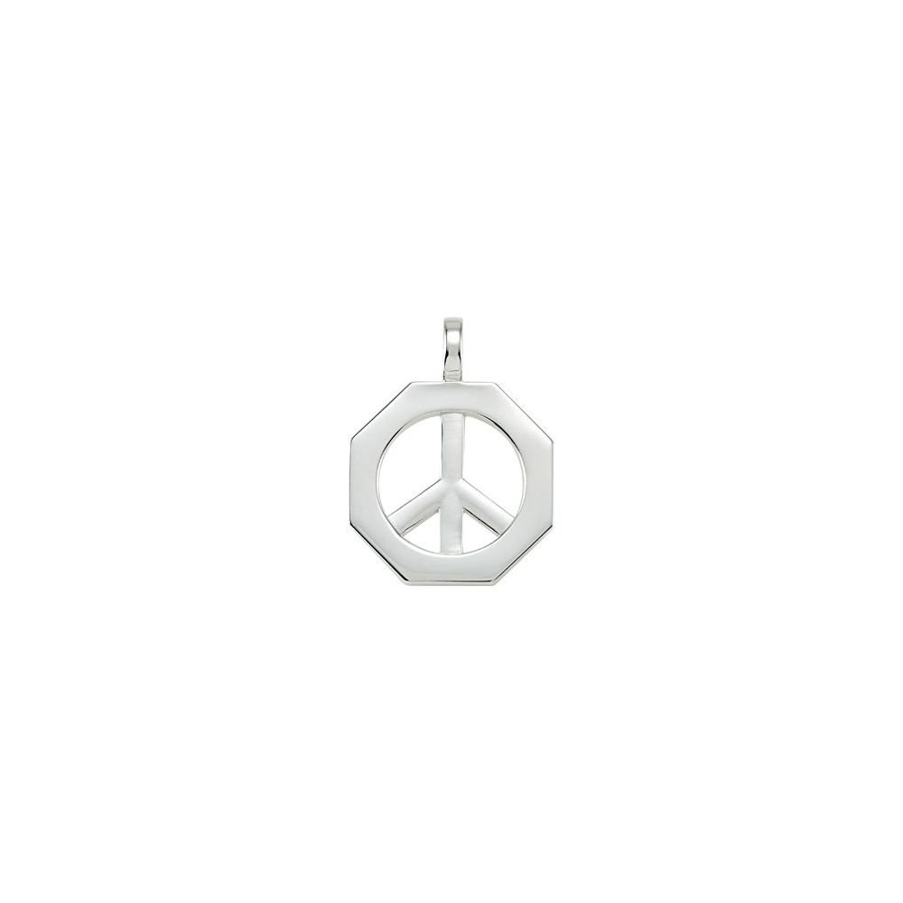 DiamondJewelryNY Octagon Shaped Peace Sign Pendant