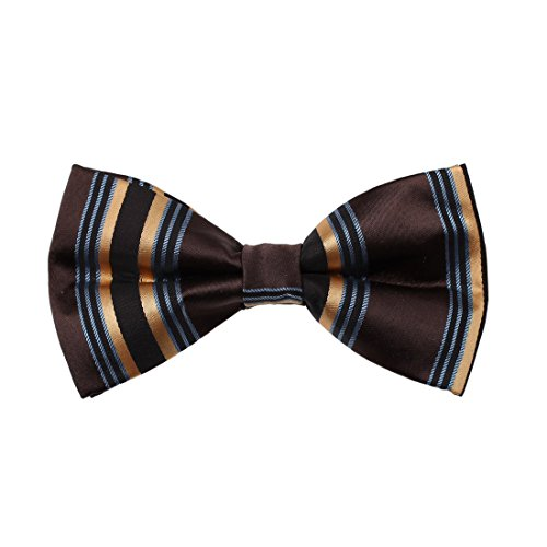 (Dan Smith DBD7A17D Dark Brown Stripes Microfiber Males Bow Tie Excellent For Working Pre-tied Bow Tie)