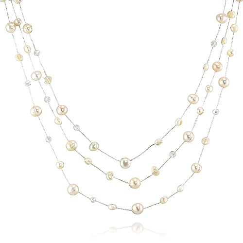 Silk Thread and White Cultured Freshwater Pearl Clear Crystal 3-Strand Necklace, 18-20 inches (Necklace Crystal Clear)