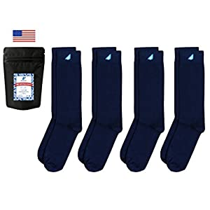 Boldfoot Socks - Mens Cotton Premium Quality Solid Color Dress Socks Gift 4-Pack, Made in America (4 Pairs, Navy)