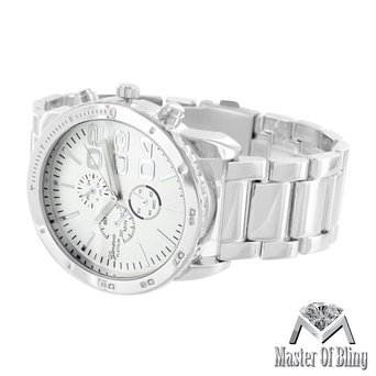 Mens Geneva Silver Watch 3 Time Zone White Gold Plated Steel Back Water Resist