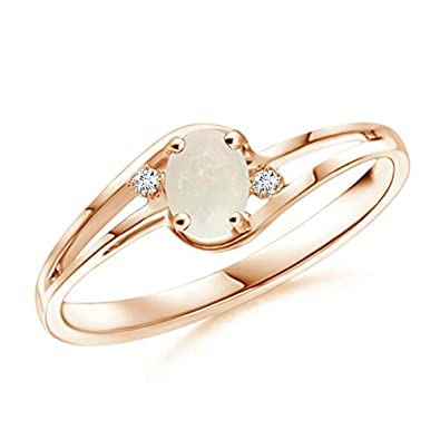 Angara Cabochon Opal and Diamond Ring in Rose Gold - October Birthstone Ring BSH6Ck0Dwq