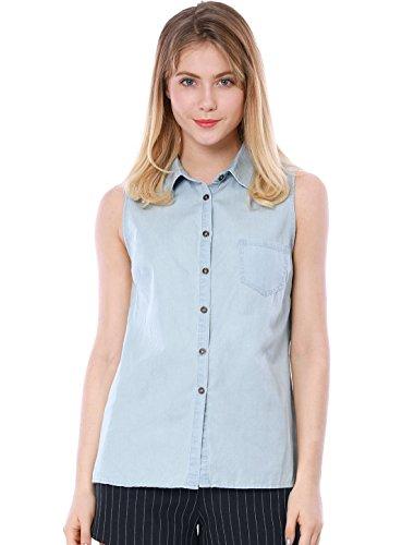 Allegra K Women's Chest Pocket Point Collar Sleeveless Shirt L Light Blue (Cotton Point Collar Blouse)