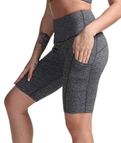DILANNI Women High Waist Yoga Shorts Side Pocket Tummy Control Workout Running Athletic Short Pants Heather Grey XL