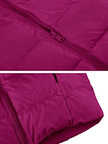 Wantdo Girl's Ultra Light Down Jacket Windproof Hoodies Outwear Short Parka for Camping(Rose Red, 4/5) by Wantdo (Image #7)
