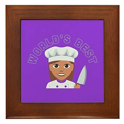 CafePress World's Best Chef Framed Tile, Decorative Tile Wall Hanging