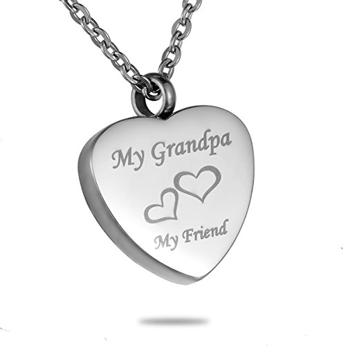 (HooAMI Cremation Jewelry My Grandpa My Friend Heart Urn Necklace Keepsake Memorial)