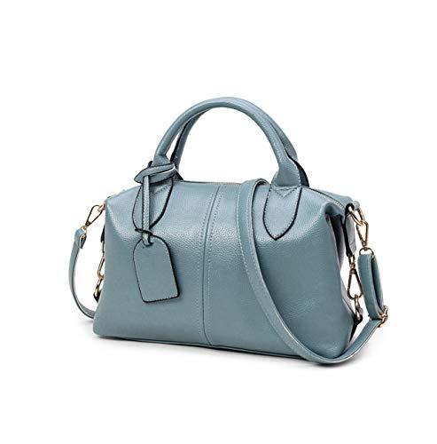 Sunwel Fashion Women's Faux Leather Medium Boston Bags Shoulder Strap Crossbody Handbag Tote Laptop Satchel Purse (Style B: Blue)