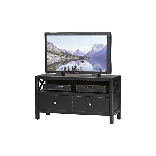 Modern, Elsa 2 - Drawers TV Stand Is Solid and Durable Construction From Pine and Painted MDF, Ebony with Rub Thru by Oh! Home