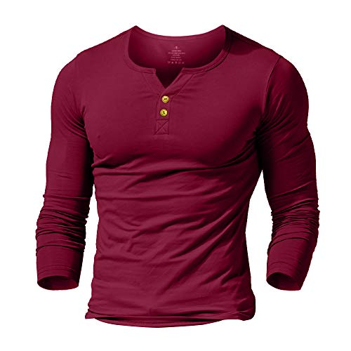 palglg Mens Long Sleeve Muscle Slim Fitted Cotton Henley T-Shirt with Buttons Wine Red L ()