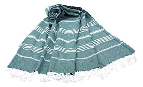 Pestemal, toalla de algodón con flecos para sauna, hammam, playa, jardín o para usar como colcha. Tejido fino absorbente, toalla de algodón 100%, Army Grün, ...