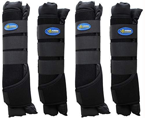 Professional Equine Horse 4-Pack Stable Shipping Boot Wraps Leg Care Black 4120BK by Professional Equine (Image #2)