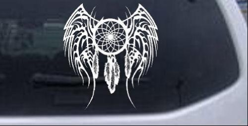 Dreamcatcher With Tribal Wings Western Car or Truck Window or Laptop Decal Sticker -- White 8in X 8.9in ()