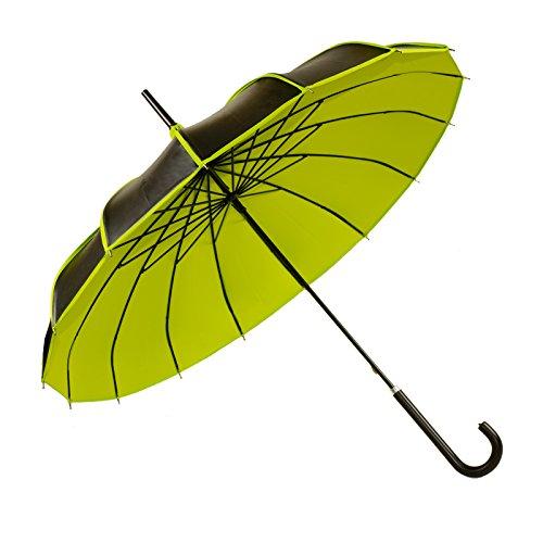 Kung Fu Smith Women Vintage UV Protection Travel Stick Rain Pogoda Parasol Umbrella (Black Yellow)