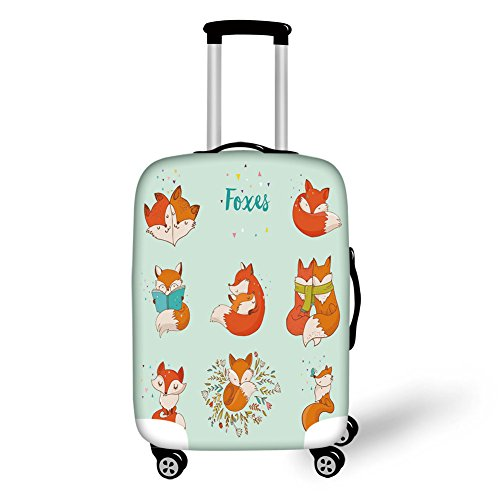 Travel Luggage Cover Suitcase Protector,Fox,Lovely Fox Characters Sleeping Reading Romantic Couple Nature Collection Kids Comic Decorative,Multicolor,for Travel by iPrint