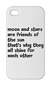 moon and stars are friends of the sun that's why they all Iphone 5-5s plastic case
