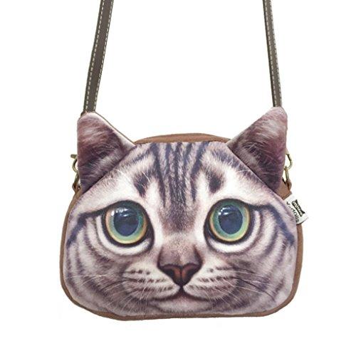 Women Ladies Girls Cute Lovely Cat Face Animal Theme Shoulder Bag Lovely Cat Head Stylish Crossbody Bag Shopping Handbags Clutch Grey Eyes
