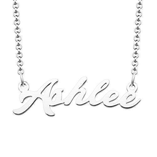 JewelryJo 925 Sterling Silver Personal Name Necklace Semi-Custom Made Customized Personalized Gift for Ashlee from JewelryJo