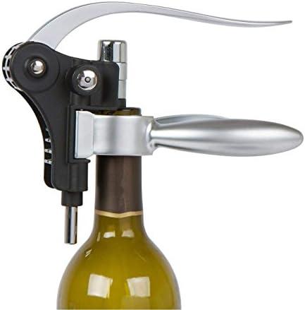 FEE-ZC Party Wine Opener Rabbit Bamboo Box Accesorios para Vino Set de Regalo Sacacorchos Abrelatas de Botella de Vino Tinto con tapón Termómetro Cortador de Aluminio Anillo de Goteo - 9 Piezas