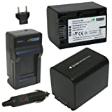 Wasabi Power Battery (2-Pack) and Charger for Sony NP-FV70 and Sony DCR-SR15, SR21, SR68, SR88, SX15, SX21, SX44, SX45, SX63, SX65, SX83, SX85, HDR-CX105, CX110, CX115, CX130, CX150, CX155, CX160, CX190, CX200, CX210, CX220, CX230, CX260V, CX290, CX300, CX305, CX350V, CX360V, CX380, CX430V, CX520V, CX550V, CX560V, CX580V, CX700V, CX760V, HC9, PJ10, PJ30V, PJ50, PJ200, PJ230, PJ260V, PJ380, PJ430V, PJ580V, PJ650V, PJ710V, PJ760V, PJ790V, TD10, TD2