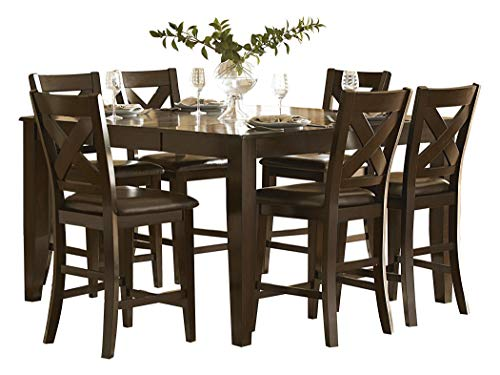 Creekmore Casual Modern 7PC Dining Set Counter Height Table & 6 Chair in Merlot (Dining Set Merlot Room)