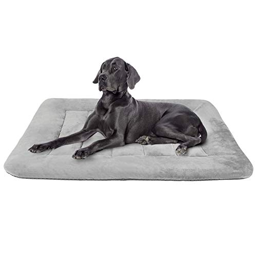 Hero Dog Large Dog Bed Crate Pad Mat 42 Inch Washable Matteress Anti Slip Cushion for Pets Sleeping Grey L