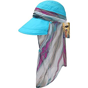 ICOLOR Sun Cap Sun Flap Hats Outdoor 360°Sun UPF 50+ Women Lady Wide Brim Cap Visor Hats UV Protection Summer Sun Hats