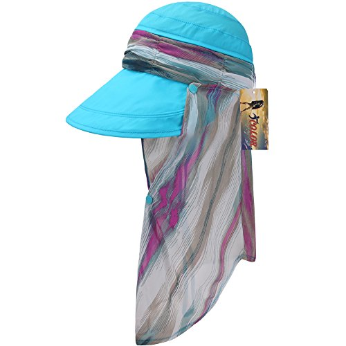 ICOLOR Sun Cap Sun Flap Hats Outdoor 360 Sun UPF 50 Women Lady Wide Brim Cap Visor Hats UV Protection Summer Sun Hats