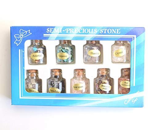 (Dalas 9 Bottles Bulk Natural Tumbled Mini Semi-Precious Stones Crystal Reiki Healing Chip Mineral Crushed Stone Wicca Set)