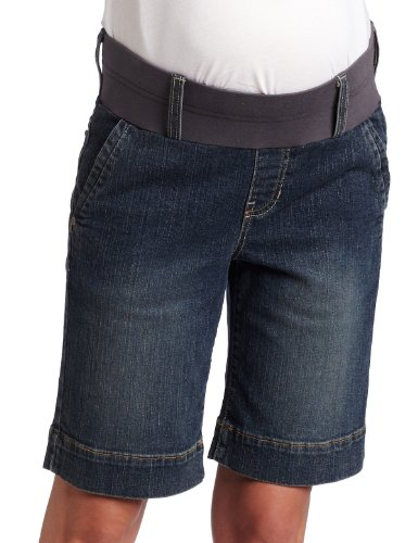 Maternal America Women's Maternity Stretch Denim Shorts, Blue Denim, Medium