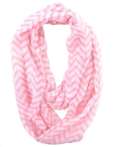 Silverhooks Womens Soft Infinity Circle Sheer Chevron Scarf (Light Pink/White)