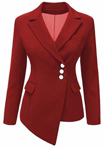 GAGA Women's Long Sleeve Asymmetrical Hem Notch Lapel Button Blazer Suits Red XL (Sleeve Collar Buttons Lapel)