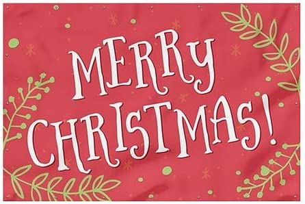 Merry Christmas 12x8 -White on red Heavy-Duty Outdoor Vinyl Banner CGSignLab