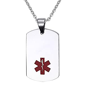 Oidea Stainless Steel Medical Alert ID Dog Tag Pendant Necklace for Men