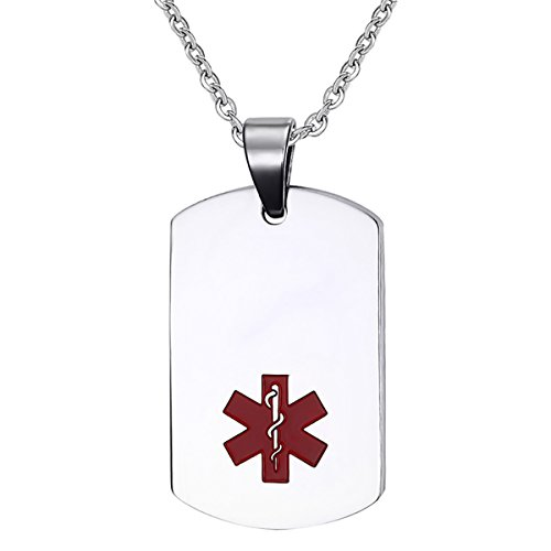 (Oidea Stainless Steel Medical Alert ID Dog Tag Pendant Necklace for Men)