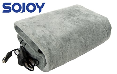 Sojoy 12V Heated Travel Electric Blanket for Car, Truck,Boats or RV with High/Mid/Low Temp control, Smart Timing (56