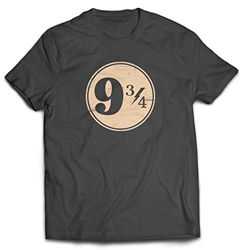 (9 3/4 Nine Three Quarters Harry Potter Hogwarts T-Shirt (XX-Large, Charcoal))