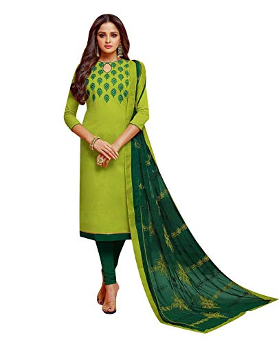 - Ladyline Cotton Embroidered Salwar Kameez with Designer Embroidery Dupatta (Size_44/ Parrot Green)