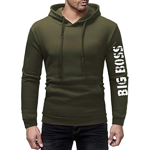 WOCACHI Hoodies for Mens, Mens' Autumn Winter Long Sleeve Casual Hoodie Pullover Sweatshirt Outwear Tops 2019 Spring Off Jumpers Hoodie Pullovers Long Sleeve Sweater Slim Fashion Deals