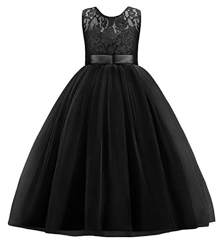 (Little Big Girls Embroidery Sleeveless Vintage Flower Lace Bridesmaid Dress Kids Floor Length Dance Long A Line Wedding Pageant Dresses Tulle Party Formal Prom Maxi Ball Gown Black 5-6 Years)
