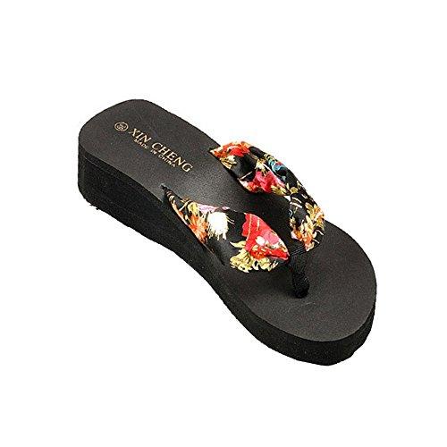 Chanclas Sandalias Zapatillas, FAMILIZO Bohemia Floral Zapatos Verano Mujer Sandalias Flip-Flops Zapatos Sandy Beach Baño Cooler Zapatillas Alta Plataforma Impermeable Negro