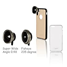 GranVela® PREMIUM Quick-IN Series Camera Lens for iPhone6/6S Plus Case and 2-in-1 with 2 Creative Effect (0.4X Super Wide-Angle, Fisheye 235 degree ) -Gold