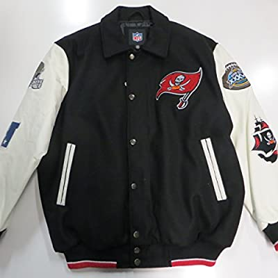 Tampa Bay Buccaneers Mens Large Snap Front Embroidered Wool Blend and Leather Super Bowl XXXVII Champions Jacket ATPA 35 L