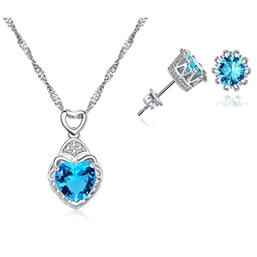Majesto 925 Sterling Silver Necklace Blue Heart Crystal Pendant Stud Earrings Set for Women Teen Girls Gift 925 Silver Studs Pendant