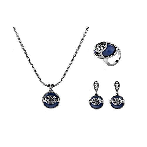 MJARTORIA Femmes Bijoux Ensemble Collier Chaîne Bague Boucles d'Oreilles avec Pendentif Perle Bleu Set de Soirée